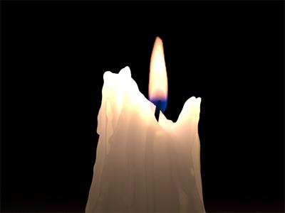 Burning candle in Cinema 4D